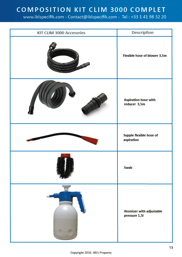 accessories composition for CLIM 3000